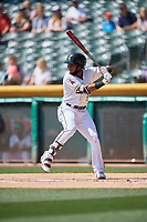 Luis Rengifo (5) of the Salt Lake Bees bats against the Fresno Grizzlies at Smith's Ballpark on September 3, 2018 in Salt Lake City, Utah. The Grizzlies defeated the Bees 7-6. (Stephen Smith/Four Seam Images)