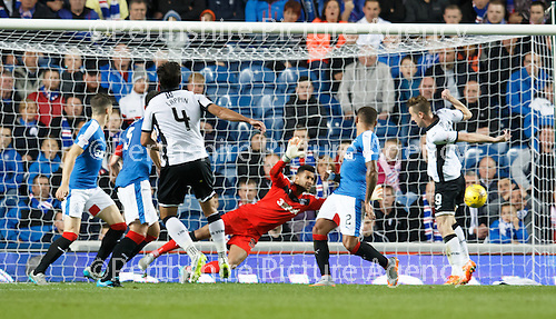 Rangers v St Johnstone...22.09.15  Scottish League Cup Round 3, Ibrox Stadium<br /> Simon Lappin scores to make it 2-0<br /> Picture by Graeme Hart.<br /> Copyright Perthshire Picture Agency<br /> Tel: 01738 623350  Mobile: 07990 594431