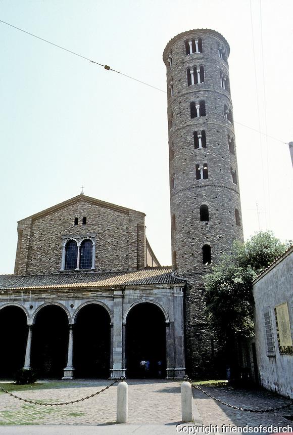 Italy: Ravenna--Basilica St. Appolinare Nuovo. Church, tower, porch. Photo '83.