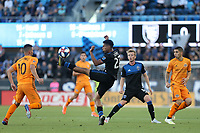 SAN JOSE, CA - JUNE 26: Marcos Lopez #27 during a Major League Soccer (MLS) match between the San Jose Earthquakes and the Houston Dynamo on June 26, 2019 at Avaya Stadium in San Jose, California.