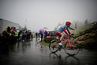 Enrico Battaglin (ITA/Katusha-Alpecin) up the extremely wet, cold & misty Cole di Mortirolo <br /> <br /> Stage 16: Lovere to Ponte di Legno (194km)<br /> 102nd Giro d'Italia 2019<br /> <br /> ©kramon