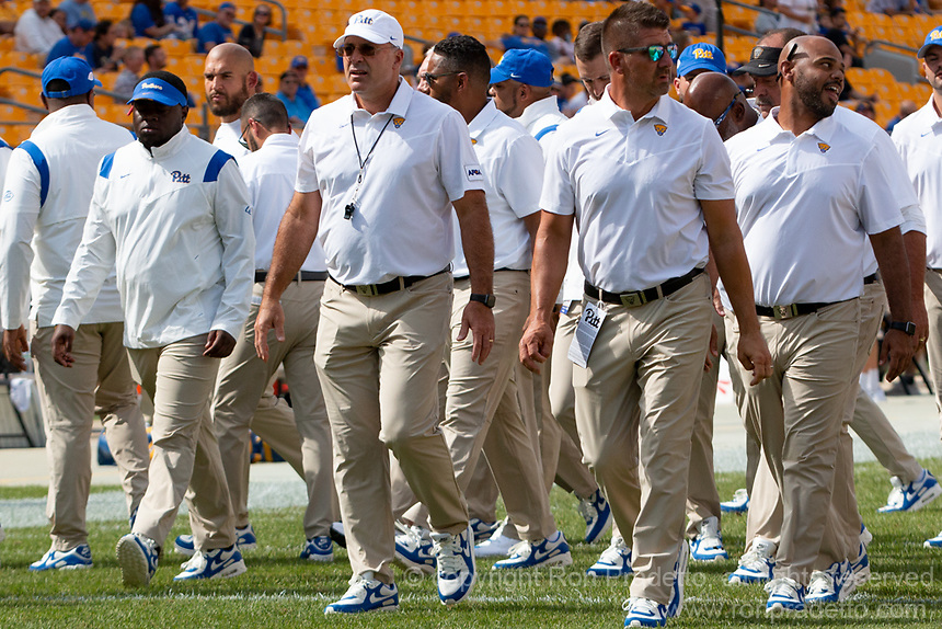 Pitt head football coach Pat Narduzzi (white shirt with whistle). The Pitt Panthers defeated the UMass Minutemen 51-7 on September 4, 2021 at Heinz Field, Pittsburgh, PA.