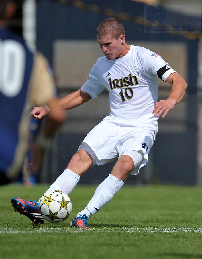 Sept. 9, 2012; Dillon Powers (10) kicks a goal in a 3-1 win over Akron...Photo by Matt Cashore/University of Notre Dame