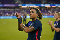 ORLANDO, FL - MARCH 05: Jessica McDonald #22 of the United States celebrates during a game between England and USWNT at Exploria Stadium on March 05, 2020 in Orlando, Florida.