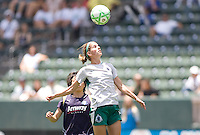 St. Louis Athletica midfielder Angie Woznuk heads a ball. The St. Louis Athletica defeated the LA Sol 1-0 at Home Depot Center stadium in Carson, California Wednesday afternoon July 8, 2009. .