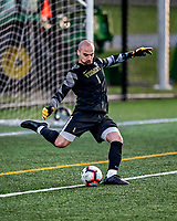 9 April 2021: University of Vermont Catamount Men's Soccer Goalkeeper Nate Silveira, a Senior from East Providence, RI, in second-half action against the University of New Hampshire Wildcats at Virtue Field in Burlington, Vermont. The Catamounts fell to the visiting Wildcats 2-1 for their first loss of the season in America East, Division 1 play. Mandatory Credit: Ed Wolfstein Photo *** RAW (NEF) Image File Available ***