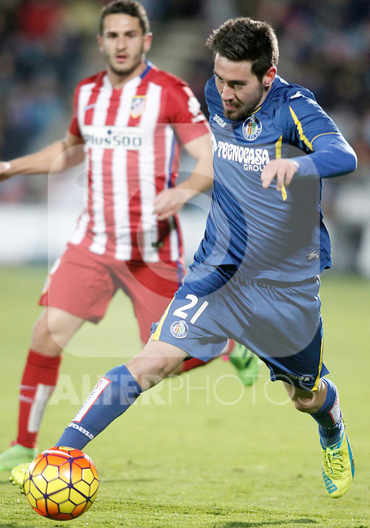 Getafe's Moi Gomez during La Liga match. February 14,2016. (ALTERPHOTOS/Acero)