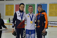 SPEEDSKATING: 15-02-2020, Utah Olympic Oval, ISU World Single Distances Speed Skating Championship, Podium 5000m Ladies, Martina Sáblíková (CZE), Natalia Voronina (RUS), Esmee Visser (NED), ©photo Martin de Jong