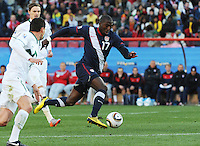 Forward Jozy Altidore attacks the Slovenia defense at speed on the dribble. The United States came from a 2-0 halftime deficit to Slovenia to earn draw their second match of play in Group C of the 2010 FIFA World Cup.