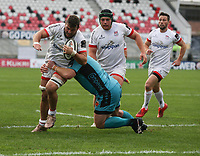 25 October 2020; Sean Reidy of Ulster in action against Greg Bateman of the Dragons during the Guinness PRO14 match between Ulster and Dragons at Kingspan Stadium in Belfast. Photo by John DicksonDicksondigital