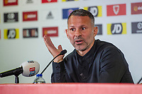 Ryan Giggs manager of Wales answers questions during the Wales Press Conference at Jenner Park in Barry, Wales, UK. Thursday 03 October 2019