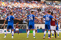 Chelsea F. C. defender Branislav Ivanovic (2), defender Gary Cahill (24), and midfielder Marco van Ginkel (16) make a wall prior to a free kick. Chelsea F. C. defeated A. C. Milan 2-0 during round two of the 2013 Guinness International Champions Cup at MetLife Stadium in East Rutherford, NJ, on August 04, 2013.