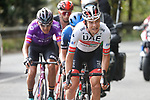 Aleksandr Riabushenko (BLR) UAE Team Emirates leads the 21 man breakaway group during Stage 12 of the Vuelta Espana 2020 running 109.4km from Pola de Laviana to Alto de l'Angliru, Spain. 1st November 2020..    <br /> Picture: Luis Angel Gomez/PhotoSportGomez | Cyclefile<br /> <br /> All photos usage must carry mandatory copyright credit (© Cyclefile | Luis Angel Gomez/PhotoSportGomez)