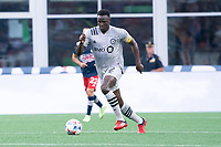 FOXBOROUGH, MA - JULY 25: Victor Wanyama #2 of CF Montreal during a game between CF Montreal and New England Revolution at Gillette Stadium on July 25, 2021 in Foxborough, Massachusetts.