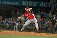 Seth Elledge (35) of the Modesto Nuts delivers a pitch to the plate against the South Division during the 2018 California League All-Star Game at The Hangar on June 19, 2018 in Lancaster, California. The North All-Stars defeated the South All-Stars 8-1.  (Donn Parris/Four Seam Images)