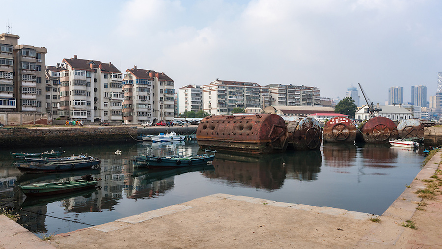 The Yantai (Chefoo) Inner Harbour In 2008.  The Customs Inspection Building Is Visible Right, Behind The Crane.