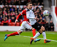 Derby County's forward Andi Weimann (19) holds it in the box during the Sky Bet Championship match between Nottingham Forest and Derby County at the City Ground, Nottingham, England on 10 March 2018. Photo by Stephen Buckley / PRiME Media Images.
