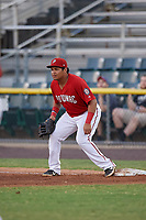 Potomac Nationals first baseman Aldrem Corredor (29) during a Carolina League game against the Myrtle Beach Pelicans on August 14, 2019 at Northwest Federal Field at Pfitzner Stadium in Woodbridge, Virginia.  Potomac defeated Myrtle Beach 7-0.  (Mike Janes/Four Seam Images)