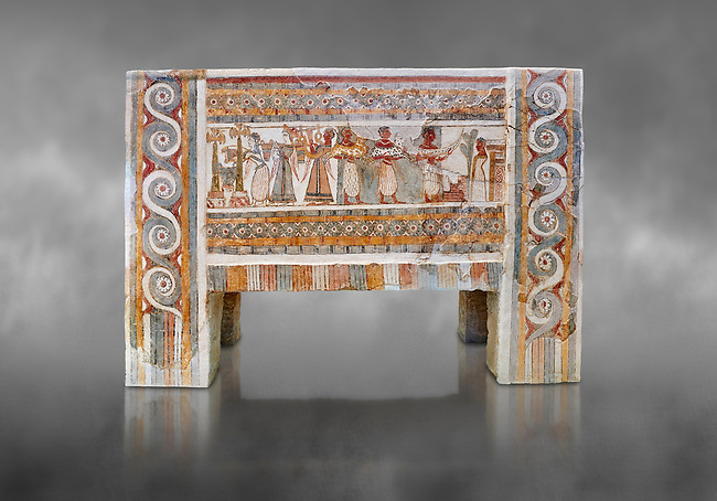 The painted Minoan Hagia Triada Sarcophagus 1370-1300 BC. Heraklion Archaeological Museum.  Grey Background. <br /> <br /> The limestone Hagia Triada Sarcophagus is painted with frescoes depicting the ceremonies honouring the dead.