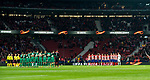 Players of FC Lokomotiv Moscow and Atletico de Madrid line up prior to the UEFA Europa League 2017-18 Round of 16 (1st leg) match between Atletico de Madrid and FC Lokomotiv Moscow at Wanda Metropolitano  on March 08 2018 in Madrid, Spain. Photo by Diego Souto / Power Sport Images
