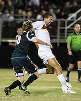 The Winthrop University Eagles beat the UNC Asheville Bulldogs 4-0 to clinch a spot in the Big South Championship tournament.  Achille Obougou (7), Mick Giordano (8)