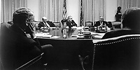 General Creighton W. Abrams, U.S. commander in South Vietnam, discusses the military situation in Vietnam with President Johnson and his advisors October 29 at the White House in Washington.  1968.  White House. (USIA)<br /> NARA FILE #:  306-PSA-68-3528<br /> WAR & CONFLICT BOOK #:  387
