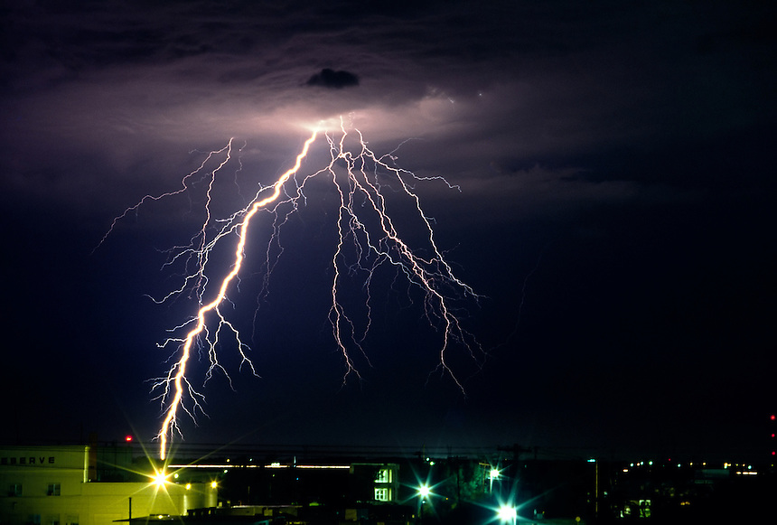 Staccato Cloud-to-ground lightning over Norman, Oklahoma.