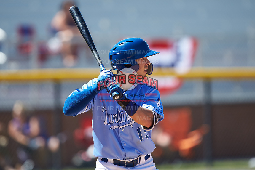 Brhet Bewley (15) of the Burlington Royals at bat against the Greeneville Reds at Burlington Athletic Stadium on July 8, 2018 in Burlington, North Carolina. The Royals defeated the Reds 4-2.  (Brian Westerholt/Four Seam Images)
