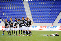 Providence Friars players line up at the start of penalty kicks. The Louisville Cardinals defeated the Providence Friars 3-2 in penalty kicks after playing to a 1-1 tie during the finals of the Big East Men's Soccer Championship at Red Bull Arena in Harrison, NJ, on November 14, 2010.