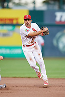 Springfield Cardinals shortstop Alex Mejia (7) throws to first base to try to complete a double play during a game against the Corpus Christi Hooks on May 31, 2017 at Hammons Field in Springfield, Missouri.  Springfield defeated Corpus Christi 5-4.  (Mike Janes/Four Seam Images)