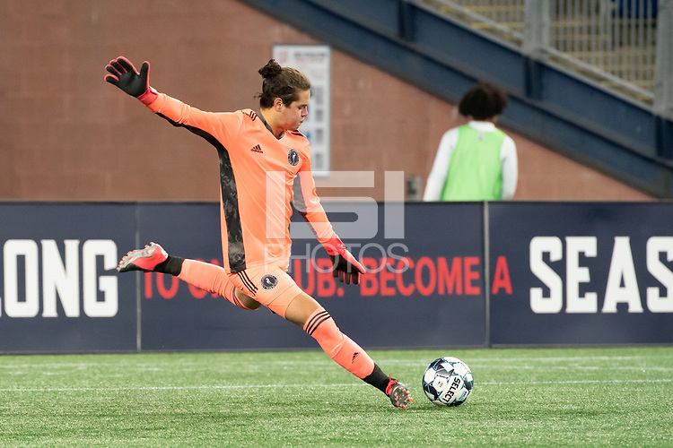 FOXBOROUGH, MA - OCTOBER 09: Andre Zuluaga #13 of Fort Lauderdale CF during a game between Fort Lauderdale CF and New England Revolution II at Gillette Stadium on October 09, 2020 in Foxborough, Massachusetts.