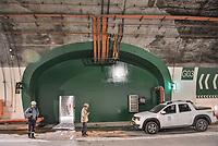 """LA LINEA - COLOMBIA, 29-08-2020: Una de las 17 galerías que tiene El túnel principal """"La Línea"""" con una longitud de  8,65 km y hace parte de El Túnel de La Línea el proyecto de infraestructura vial más importnate de Colombia que está es fase final de construcción conectará de manera eficiente los departamentos colombianos de Quindío y Tolima. El plan además consta de 24 puentes y 20 túneles de diferentes longitudes. / One of the 17 galleries on the the main tunnel """"La Línea"""" that has a length of 8.65 km and is part of El Túnel de La Línea, the most important road infrastructure project in Colombia, which is in the final phase of construction and will efficiently connect the Colombian departments of Quindío and Tolima. The plan also consists of 24 bridges and 20 tunnels of different lengths. Photo: VizzorImage / Gabriel Aponte / Staff"""