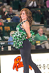 North Texas Mean Green dancers and cheerleaders in action during the game between the Arkansas Little Rock Trojans and the North Texas Mean Green at the Super Pit arena in Denton, Texas. UALR defeats UNT 52 to 48...