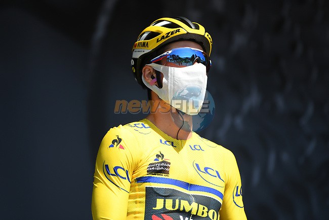 Race leader Primoz Roglic (SLO) Team Jumbo-Visma at sign on before the start of Stage 3 of Criterium du Dauphine 2020, running 157km from Corenc to Saint-Martin-de-Belleville, France. 14th August 2020.<br /> Picture: ASO/Alex Broadway | Cyclefile<br /> All photos usage must carry mandatory copyright credit (© Cyclefile | ASO/Alex Broadway)