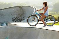 Georgina on DMR jump bike .  Hayle , Cornwall .