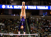 Brenna Dowell of GAGE competes on the uneven bars during the 2012 US Olympic Trials competition at HP Pavilion in San Jose, California on June 29th, 2012.
