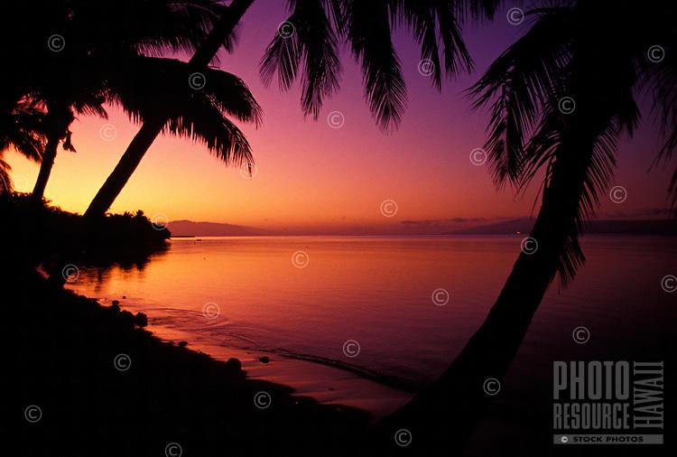 Sunrise looking over the water from Pau Hana Inn on Molokai