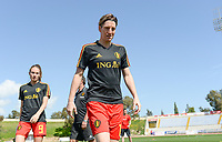 20180228 - LARNACA , CYPRUS :  Belgian Aline Zeler pictured during warming up of the women's soccer game between The Belgian Red Flames and the Czech Republic , on wednesday 28 February 2018 at GSZ Stadium in Larnaca , Cyprus . This is the first game in group B for Belgium during the Cyprus Womens Cup , a prestigious women soccer tournament as a preparation on the World Cup 2019 qualification duels. PHOTO SPORTPIX.BE   DAVID CATRY