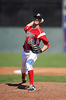 Batavia Muckdogs pitcher Jordan Holloway (56) delivers a pitch during a game against the Williamsport Crosscutters on July 16, 2015 at Dwyer Stadium in Batavia, New York.  Batavia defeated Williamsport 4-2.  (Mike Janes/Four Seam Images)