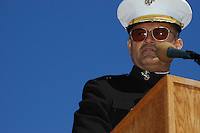Keynote speaker, Brigadier General Michael J. Aguilar pauses during Memorial Day ceremonies at the Mount Soledad Veterans Memorial, La Jolla, CA, USA Monday May 26 2008.  Jerry Coleman, the voice of the San Diego Padres and  a highly decorated WWII and Korean War pilot was honored with a special plaque during the ceremonies.