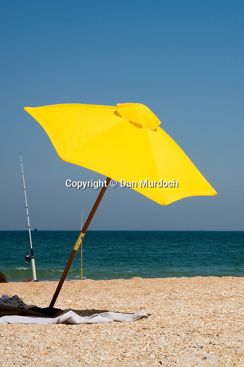 Bright yellow beach umbrella
