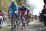 Rider tackle Sector 18 la Trouee de Arenberg during the 113th edition of the Paris-Roubaix 2015 cycle race held over the cobbled roads of Northern France. 12th April 2015.<br /> Photo: Eoin Clarke www.newsfile.ie