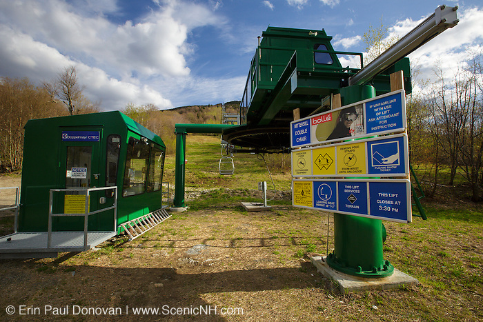 Franconia Notch State Park - Cannon Mountain's Mittersill Chairlift in the White Mountains, New Hampshire during the spring months.