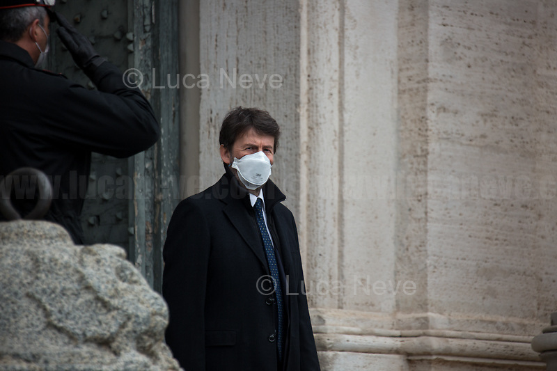 Dario Franceschini, Minister of Heritage and Cultural Activities.<br /> <br /> Rome, Italy. 13th Feb, 2021. The new Italian Government, led by Professor and former President of the ECB - European Central Bank - Mario Draghi, leaves the Palazzo del Quirinale (Quirinale Palace) after swearing in front of the President of the Italian Republic, Sergio Mattarella. This is the 67th Government of Italy.<br /> <br /> Footnotes & Links:<br /> Italian Government website: http://www.governo.it/