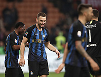 Calcio, Serie A: AC Milan - Inter Milan, Giuseppe Meazza (San Siro) stadium, Milan on 17 March 2019.  <br /> Inter's Stefan De Vrij (c) celebrates with his teammates after winning 3- 2 the Italian Serie A football match between Milan and Inter Milan at Giuseppe Meazza stadium, on 17 March 2019. <br /> UPDATE IMAGES PRESS/Isabella Bonotto