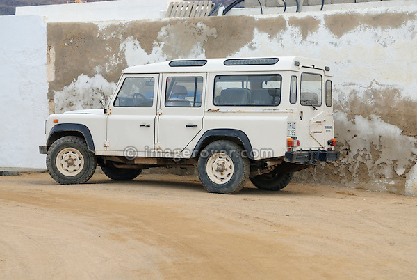 Spain, Canary Islands, Archipielago Chinijo, Isla Graciosa, Caleta del Sebo. Land Rover Santana Series IV 109 Station Wagon. --- No releases available. Automotive trademarks are the property of the trademark holder, authorization may be needed for some uses.