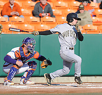 Shortstop Alec Paradowski (15) of the Wofford Terriers in a game against the Clemson Tigers on Wednesday, March 6, 2013, at Doug Kingsmore Stadium in Clemson, South Carolina. Clemson won, 9-2. (Tom Priddy/Four Seam Images)