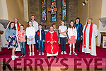 Pupils from Scoil an Fheirtéaraigh Aisling Ní Shúileabhain, Aodhain Ó Súilleabhain, Sibéal Ní Shéaghdha, Maidhc Ó Sé, Cormac Ó Dubhain, Éimhín Dalby the day of their Confirmation, here pictured with their muinteoir Rob Mac Gearailt, prímhoide Mairín Uí Chonchúir, An tAthair Séamus Mac Ginnea, an tAthair Tomas Ó hIcí and an tAthair Eoghan Ó Cadhla at Séipéal Naomh Uinseann, Baile an Fheirtéaraigh, on Friday.