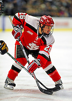 3 January 2009: St. Lawrence Saints' forward Travis Vermeulen, a Junior from Centerville, MN, in action against the University of Vermont Catamounts during the championship game of the Catamount Cup Ice Hockey Tournament at Gutterson Fieldhouse in Burlington, Vermont. The Cats defeated the Saints 4-0 and won the tournament for the second time since its inception in 2005...Mandatory Photo Credit: Ed Wolfstein Photo