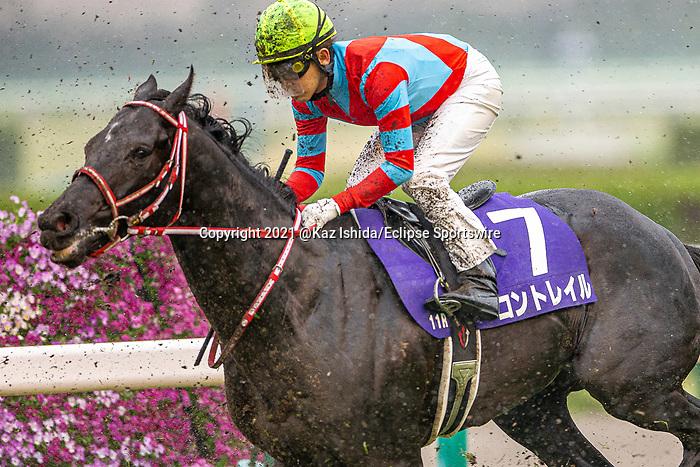 TAKARAZUKA,JAPAN-APR 4: Contrail (finished 3rd) receives kickback in the Osaka Hai at Hanshin Racecourse on April 4,2021 in Takarazuka,Hyogo,Japan. Kaz Ishida/Eclipse Sportswire/CSM